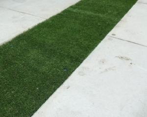 駐車場に敷いたドットペイブの間に芝生を敷く