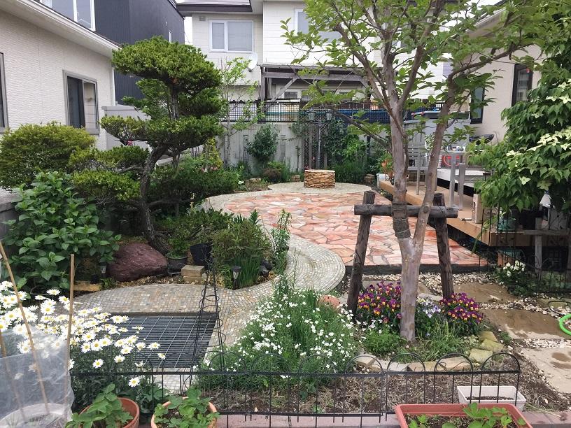 小川の流れるお庭施工後